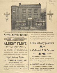 Advertisement for Albert Flint, photographic artist